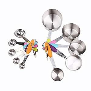 ECHI(TM) Lot de 10 Cuillères doseuses Mesure Tasses Avec Poignées Acier Inoxydable Cuillère à Mesure Cuisine Mesure Cup (5 Tasses + 5 Cuillères)