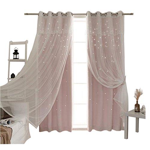 Nclon principessa le tende tenda per finestra,europea oscuranti oscurante colore puro stelle soggiorno camera da letto pizzo voile le tende tenda per finestra-pannello rosa 1 w200cm*d260cm