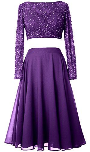 MACloth - Robe - Trapèze - Manches Longues - Femme Violet
