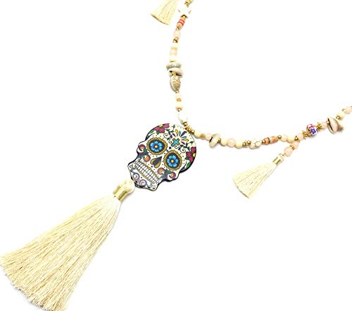 Oh My Shop CL2340F - Sautoir Collier Perles Bois Charms avec Tête de Mort Calavera et Pompons Ecru