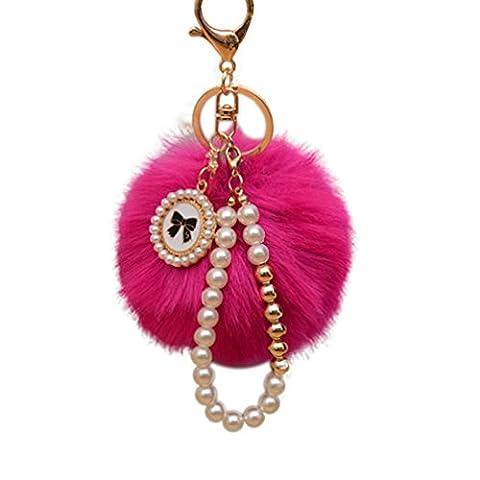 ALCYONEUS Cute Keychain Artificial Fur Ball Plush Key Ring Car Bag Pendant Ornament (Rose Red)