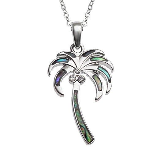 Kiara Schmuck Palm Baum Anhänger Halskette mit Blaue grün intarsiert Paua Abalone Shell mit Rundum Glas Stein auf 45,7 cm Trace Kette. Silber Farbe, Rhodiniert, Anlauf Geschützt.