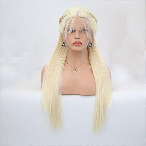 TTHJY Damen Lace Front Perücken - Glatt Rauchgrau Wig Geflecht Synthetische Haare Hitze Resistent Lang Halloween Rave-Party Cosplay Perücke,Smokegray,22Inch