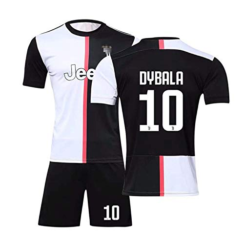 Wywei maglia juventus 2018 2019 tuta da allenamento per ragazzo uniforme da calcio t-shirt a maniche corte + pantaloncini (nero-10#dybala,t18/altezza bambini 100-110cm)