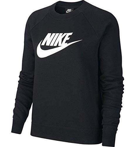 Nike Damen W NSW ESSNTL Crew FLC HBR Long Sleeved T-Shirt, Black/White, M