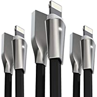 Phone Cable,Aimus 3 Pack 0.4FT+4FT+6FT Zinc Alloyed Lead to USB Charging Charger Cable Port for iPhone 7/7 Plus, iPhone 6/6S/6 Plus/6S Plus, iPhone 5/5S/5C/SE, iPad Mini 2 3 4(0.4+4+6ft Black)