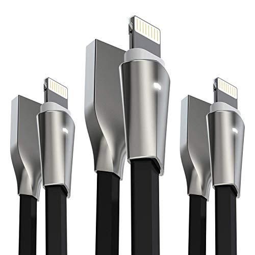 Câble iPhone, Aimus [Lot de 3 – 0.15 m+ 1.2 m+ 1.8 m] Zinc allié Lightning vers câble de chargement USB pour iPhone 7/7 Plus, iPhone 6/6s/6 Plus/6s Plus, iPhone 5/5S/5 C/SE, iPad Mini 2 3 4 Air iOS10 et plus (Noir)