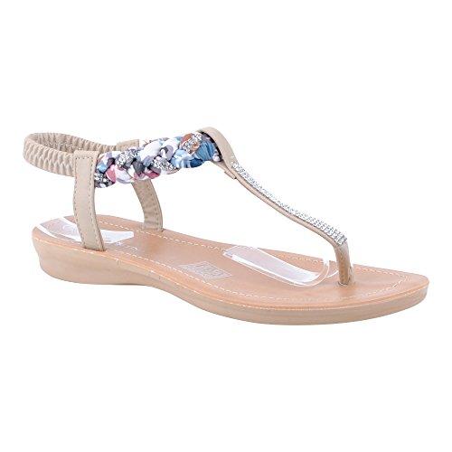Damen Sandalen Lack Glitzer Zehentrenner Freizeit High-Heels Fransen Espadrilles Keilabsatz Ballerinas Sandaletten Metallic Schuhe Essen-Beige
