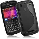 Supergets® Blackberry Curve 9360 TPU Hydro Gel Case Covers, Screen Protector And Polishing Cloth - Black