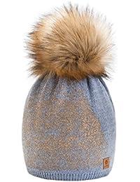 4sold Gold Mütze Bommel Pompon Wurm Winter Style Bommelmütze mit Zopfmuster Beanie Strick Mütze mit Ponpon Damen Herren HAT HATS SKI Snowboard Strickmütze mit Fellbommel