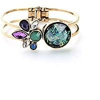 Lares Domi Bracciale elegante stile vintage color oro con cristalli e opale sintetico intarsiato - Nero D'argento Dei Monili
