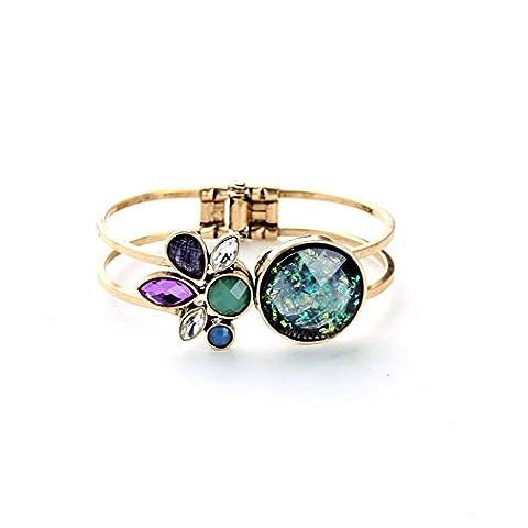 LARESDOMI Vintage Gold-tone Crystal Incrusted Simulated Opal Inlay Elegant Bohemian Cuff Bracelet - Gemstone Encrusted