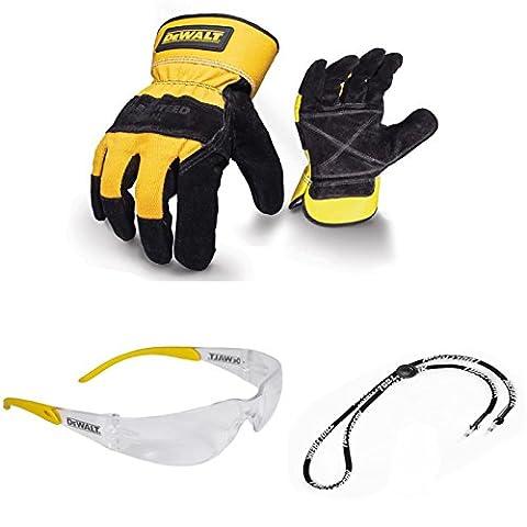 DeWalt Noir/Jaune/Cuir Rigger gants de sécurité robuste avec objectif Lunettes de sécurité Transparent et cordon de cou Bundle Deal x 3pièces