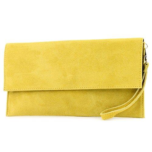 modamoda de de - cuero italiano de embrague T151 Pequeño Gamuza, Color:Gelb