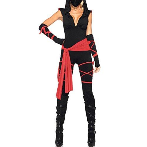 Honghu Damen Halloween Kostüm Bodysuit Alles in Einem Overall mit dem Skelett Umriss auf Sie Ärmellos Tops & Hosen X-Large Schwarz