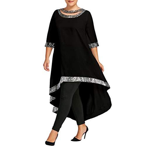Bluelucon Damen 50s Retro Schwingen Vintage Rockabilly Kleid Faltenrock Partykleider ()