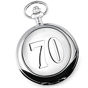 41ec9e709d9 De Walden 70th Birthday Engraved Mens Pocket Watch with 70 Case in a ...