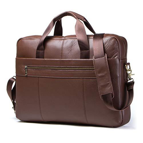 "Contacts Mens Genuine Leather Crossbody 15.6"" Laptop Ipad Bag Office Briefcase Handbag Brown"