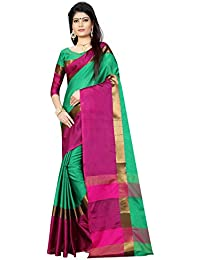 Vedant Vastram Women's Poly Silk Chanderi Printed Saree With Blouse Piece (Green & Pink Colour)