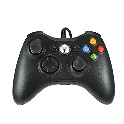 Xbox 360 Controlador de Gamepad, LESHP Mando para PC (Windows XP/7/8/10), Android (TV box / smartphone / tablet) y PS3, negro