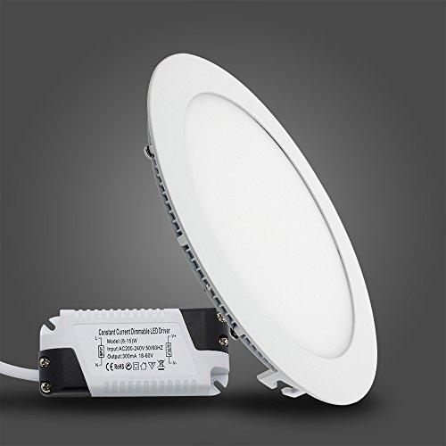Preisvergleich Produktbild BAODE 15W Warmweiß Dimmbar LED Panel Leuchte Deckenlampe Rund Ultraslim Einbaustrahler 3000K Ø200mm(1x Pack)
