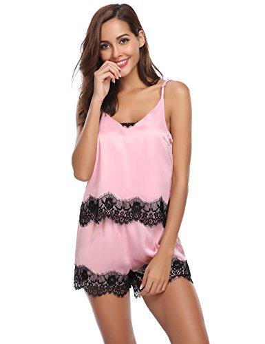 Damen Sommer Satin Spitze Cami Top und Shorts Pyjama Set Frauen Nachtwäsche Set mit Spaghettibügel Rosa XXL (3 Stück Pyjama Nachtwäsche)