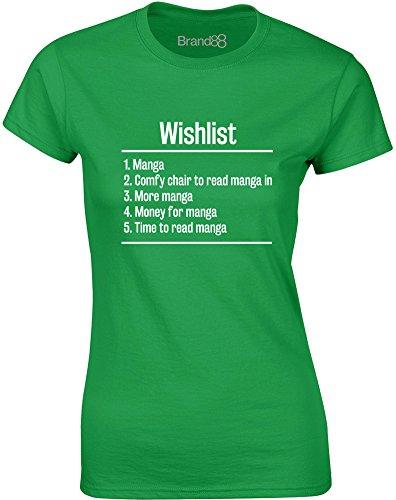 Brand88 - Wishlist: Manga, Gedruckt Frauen T-Shirt Grün/Weiß
