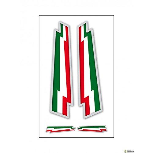 StickersLab - 4 Adesivi bandiera Italiana frecce in vinile ultra resistente per moto vespa auto fiat 500 casco