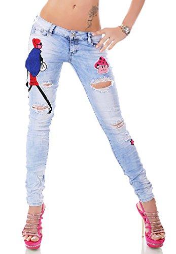 Verrückte Destroyed-Jeans mit wattierten Comic-Flicken Hellblau