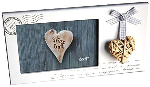 Cadre photo vintage aux lettres Design avec Cœur laqué env. 25x 13cm pour photos 14x 9cm