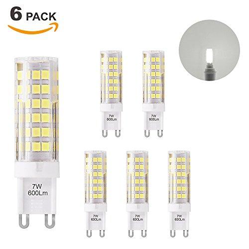 Super Brillant Lampe Ampoule Culot G9 GU9 à LED Economique 7W 600Lm Blanc Froid 6000K Eclairage AC220-240V Equivalent 60W Ampoule Halogene Incandescente Lot de 6 de Enuotek