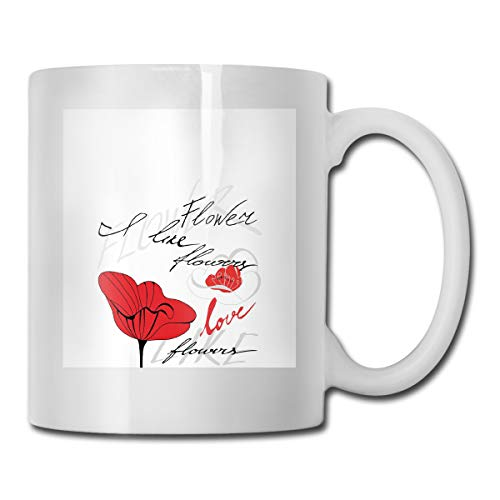 Jolly2T Funny Ceramic Novelty Coffee Mug 11oz,Stylized Red Blossom with Romantic Inscription Love of Nature and Flower,Unisex Who Tea Mugs Coffee Cups,Suitable for Office and Home Blossom Demitasse Cup