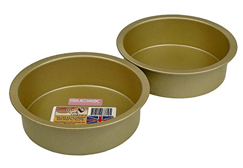 4.5 Inch Individual Deep Pie Dishes / Cake Tins, Twin Pack, 11.5 cm, British Made with Gold GlideX Non Stick by Lets Cook Cookware