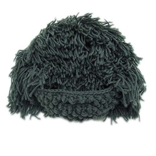 Lustige Party Maske Mützen Perücke Bart Hüte Männer & Frauen Mad Wissenschaftler Rasta Caveman Handmade Knit Warm Winter Caps Gray Green