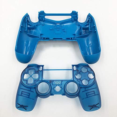 JDM-040 Ersatz-Gehäuse für Playstation 4 Pro PS4 Pro Controller, durchsichtig, Blau/Weiß Clear Blue No Button - Playstation Gehäuse 4