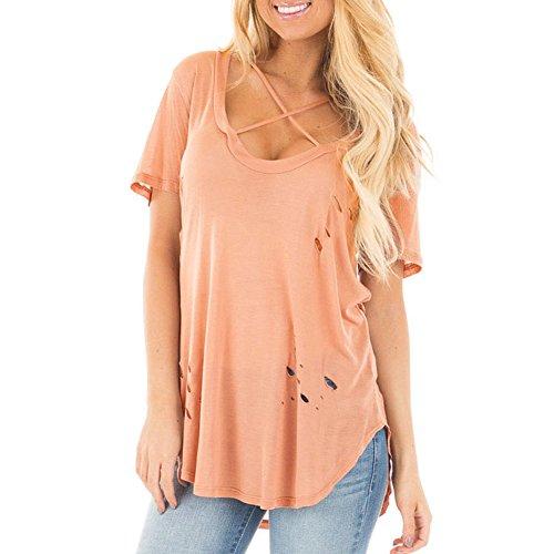 Newbestyle Damen Sommer T-Shirts Kurzarm Zerrissene Löcher Tops Shirts Rosa