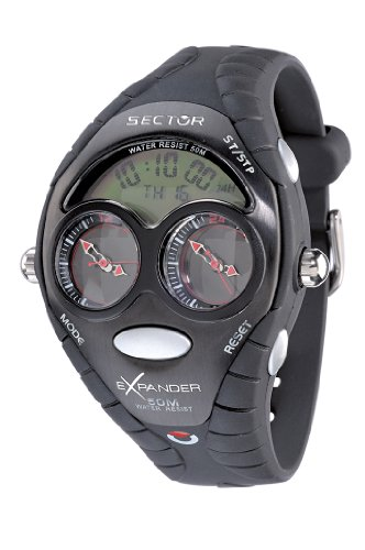 Sector 'Expander' R3251172195 Men's Digital Quartz Watch with Black Resin Strap