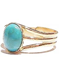Classic Gold Gemstone Ring w/ 10 x 8mm Turquoise - Adjustable