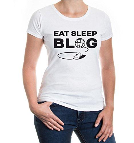 buXsbaum® Girlie T-Shirt Eat Sleep Blog White-Black