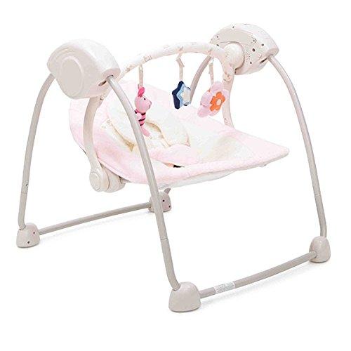 Babywippe Swing mit Musikfunktion, regulierbare Lautstärke, Zeitschaltuhr (Rosa)