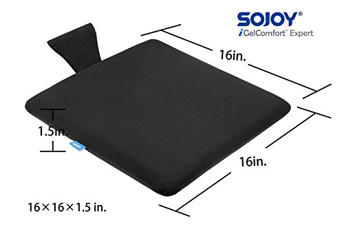 sojoy igelcomfort Enhanced Gel multiusos Gel asiento cojín de espuma de memoria con silicona antideslizante