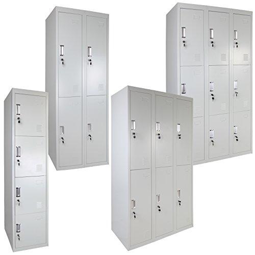 Spind Schließfachschrank Metallschrank Mehrzweckschrank Umkleideschrank Garderobenschrank in vielen Ausführungen - Grau/Dunkelblau ; 4 Fächer einreihig