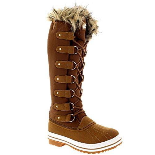 Polar Damen Pelz Cuff Schnüren Gummisohle Knie Hoch Winter Schnee Regen Schuh Stiefel Tan Nylon