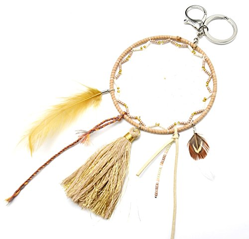 PT1031D-Porta-chiavi, gioiello da borsetta Acchiappa-sogni Dreamcatcher Contour feltro con perle, Pompon filati e piume, colore: talpa, modalità fantasia etnica