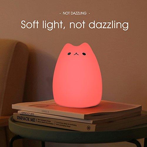 confronta il prezzo Luce Notturna LED, ikalula molle variopinta del silicone del gatto di notte di ricarica di notte cambia luce automatica del gatto per la camera dei bambini 'Cute Cat Night Light. miglior prezzo