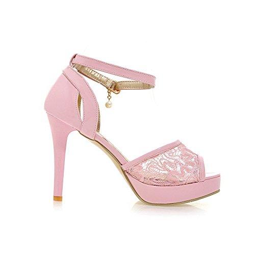 VogueZone009 Damen Weiches Material Fischkopf Schuhe Rein Hoher Absatz Sandalen Pink
