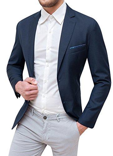 Evoga Giacca Uomo Sartoriale Blu Scuro Elegante con Pochette da Taschino (l)