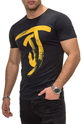 JACK & JONES Herren T-Shirt Kurzarmshirt Top Print Shirt Casual Basic O-Neck (XL, Tap Shoe)