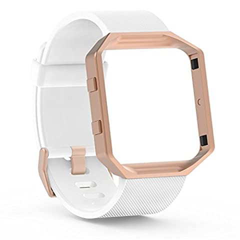 For Fitbit Blaze Band Straps, SnowCinda Soft Silicone Replacement Strap Sport White Bands with Rose Gold Metal Frame For Fitbit Blaze Smart Fitness Watch Large
