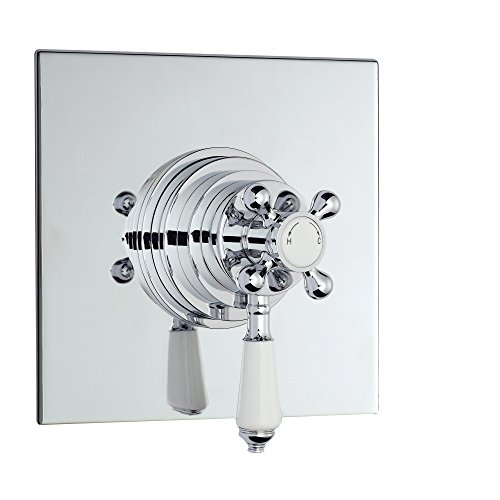 Traditional Dual Concealed Thermostatic Square Chrome Finish Bathroom Shower Valve